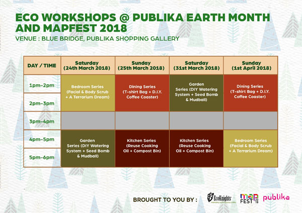 Publika Earth Month and MAPFEST 2018 Workshop Schedule